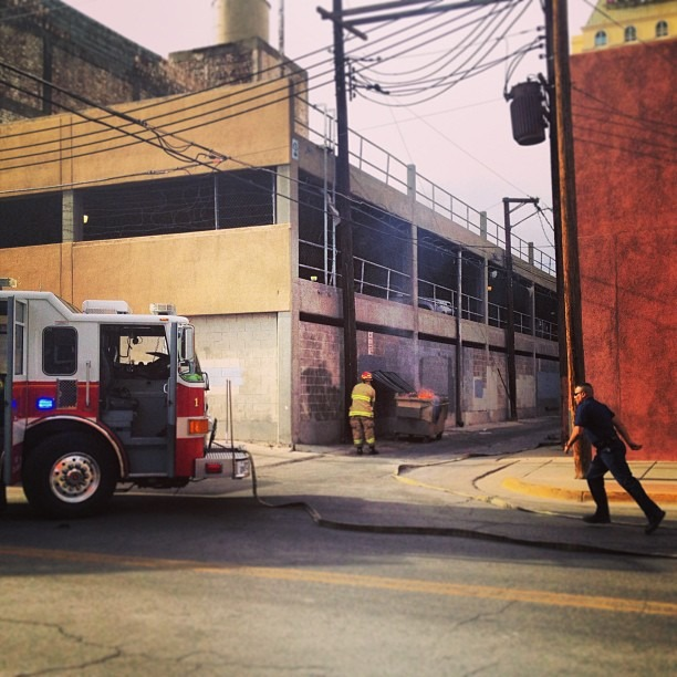 #fireinthehole #streetphotography #downtownelpaso #fire #fighters #firetruck #action