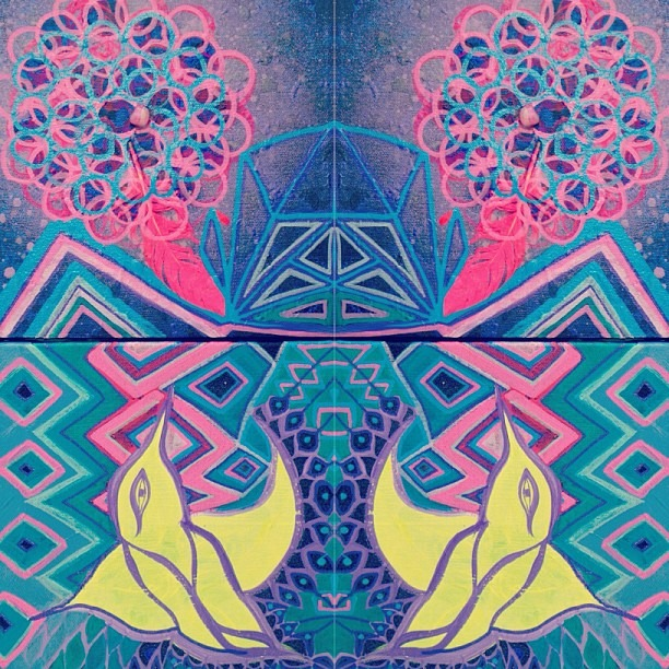 #twiceasnice #two #paintings #reflection #neon #native #spraypaint #acrylics #paintmarkers #ancient #patterns #sacred geometry #flypussy #mix