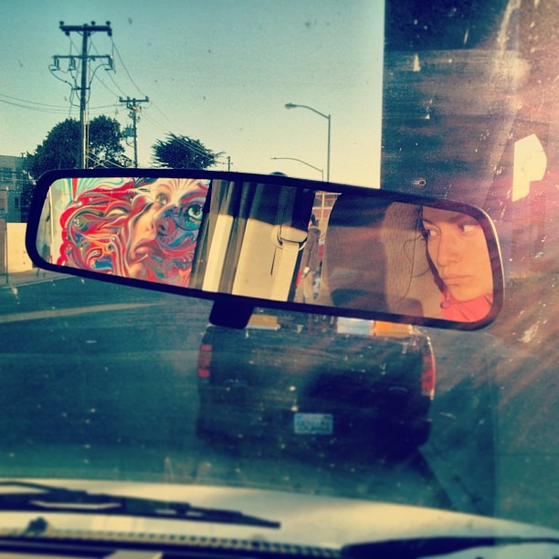 #Westcoasting with @wercworldwide #sanfrancisco #mural #artonwheels #rearview #mirror #reflection #instatwin #californiadreaming #sun #glare #wercgraff #museemagazine #museegram