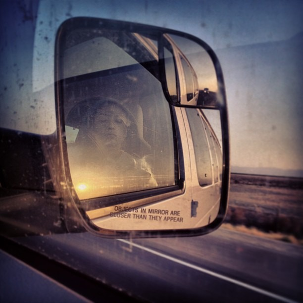 #traveling #partners #lifebud #bestfurryfriend #ontheroad #downsouth #mirror #reflection #travelore #beautiful #sunset #glow