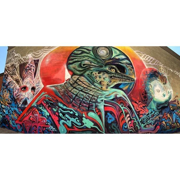 @wercworldwide #westcoasting #tour #biggest #wall 30x40' #Sacred #Source #Imix #Tzolkin #Maya #graffiti #love #life #allcosmiceye #santana #urban #beautification #painting @mtncolors  (at Santa Ana Plaza)