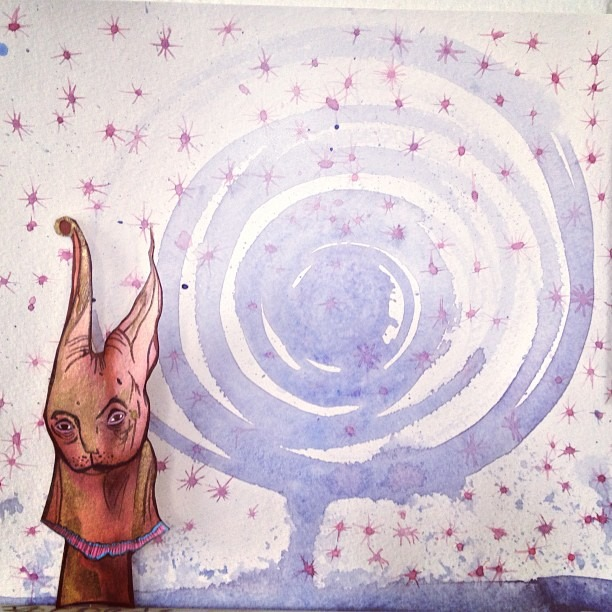 #follow the #psychic #bunny  ( @lexamann ) to the #galactic #tree #starrynight #ancient #beautiful #watercolor #love