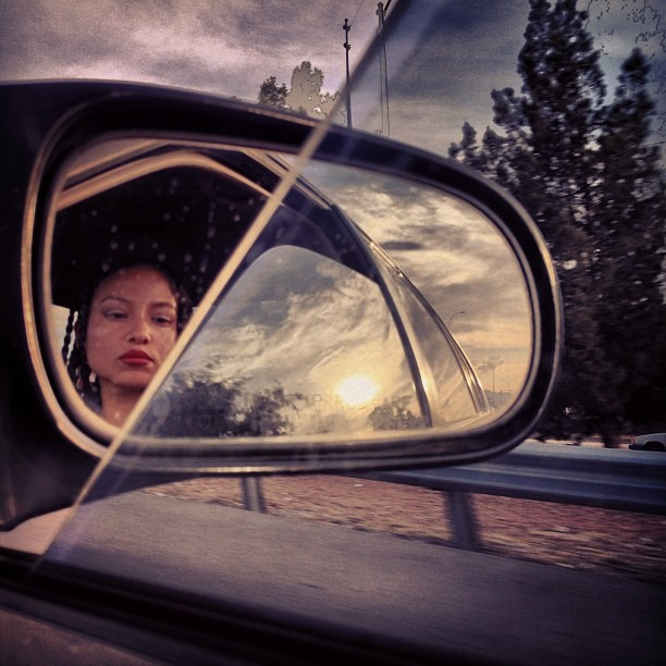 #LiveInTheMoment #MyCommute @samsungcamera #reflection #mirror #ontheroad #offwego #beautiful #painting #sunset #sky