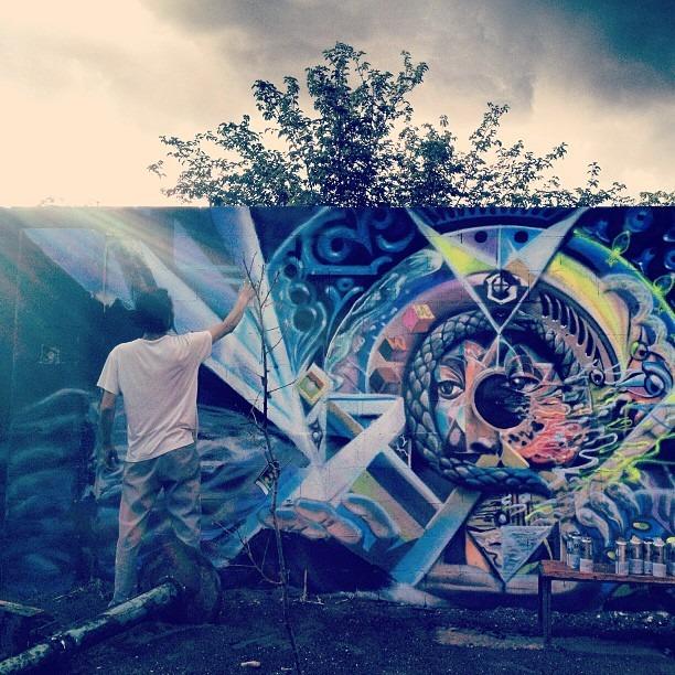 #progress #shot #Werc #painting in the #rain #chuco #downtown #urban #revival #wall #love #graffiti #life