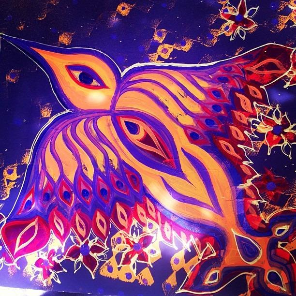 "#Huitzilopochtli #giant 20""x30"" #slap #tag #yoni #hummingbird #goddess aka #flypussy #hummer #Kansas #ElPaso #Cambodia #sticker project #streetart #love"