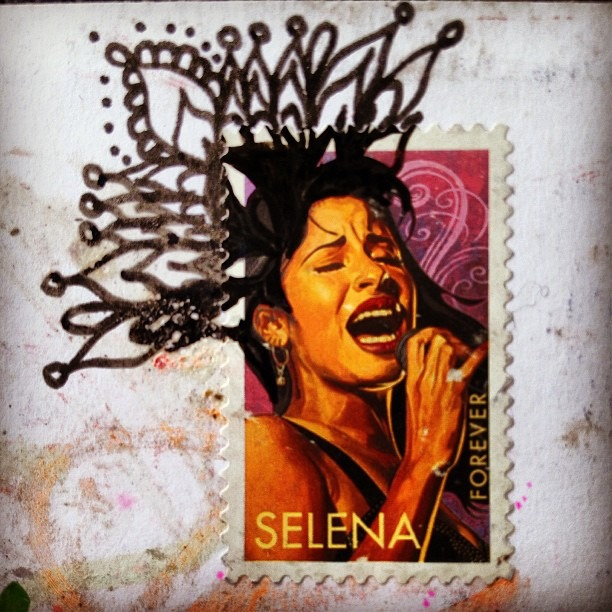 #post #stamp #mail #intervention #la #reina dela #techno #cumbia #nuestra #señora #Selena #drawing #mailart #love #life
