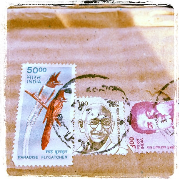 #sweet #surprize came in the #mail allthewayfrom #India #package #birds #stamp #Gandhi #love