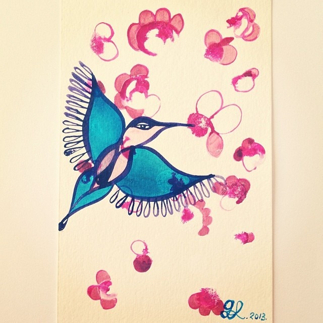 #flypussy #highyoni #ink #love #paint #petals #putabirdonit #goddess #nectar #hummingbird #art