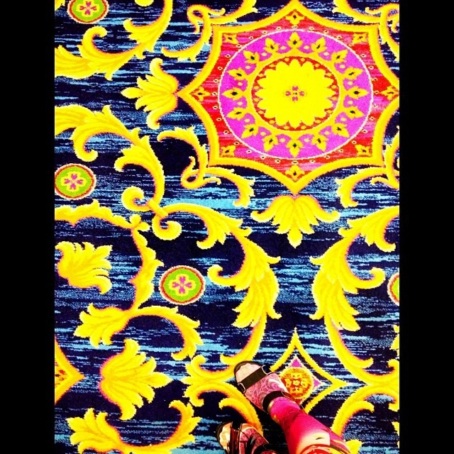 #love the #vintage #carpet #patterns in #ac #afterparty #shoeshot #matching #perfect #tights #yellow & #pink #open #leggings #toes #footfetish (at Atlantic City)