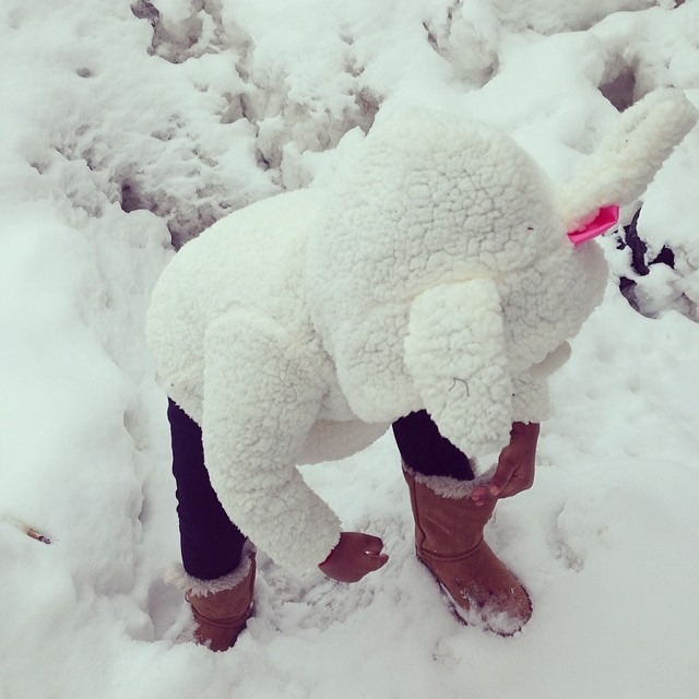 My #Shaili #bunny #baby #playinginthesnow #childhood #love #toddler #winter #fun