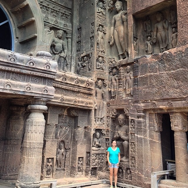 #beautiful #agantacaves #india #love #buddhism #200bc #rocksculpture #relieves #entrance #columns #giant #buddhas #travel #life #nofilter