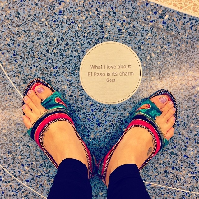 #landedonmyfeet #myquote #integrated into a #wonderful #publicart project by @mitsuoverstreet at #baggageclaim #elpasoairport #shoeshot #feet #Rajasthan #sandals