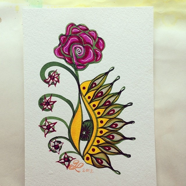 #classic #gera #thankyou #handmade #card #eye #flower #watercolor n #sharpie #ojo #rosa