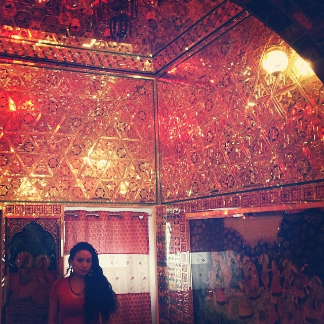 #magic #room #shiny #sparkling #galore #Hindu #art #sacred#geometric #patterns on #mirror #shrooms #Rajasthan #india