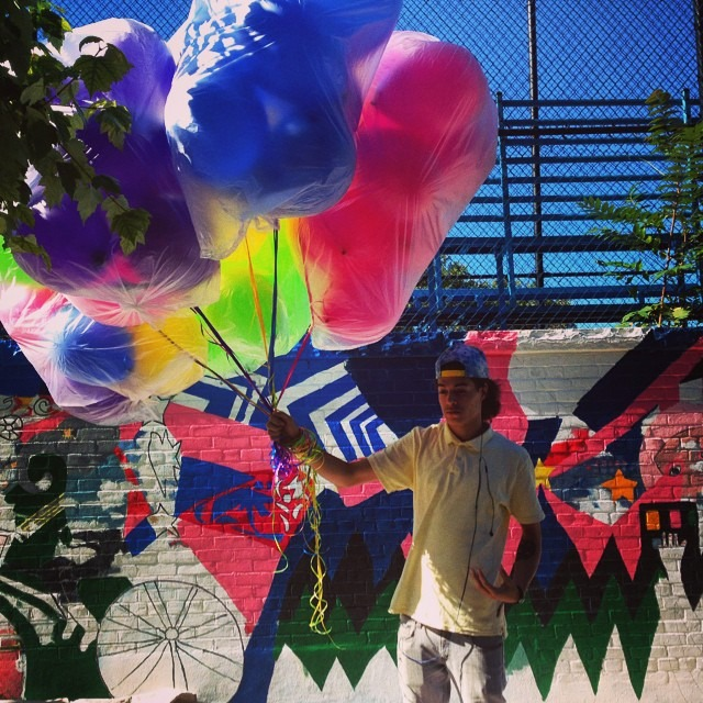 #balloon #beauty passing by the #restoration #wall #wip #neon #color #love #nyc #art