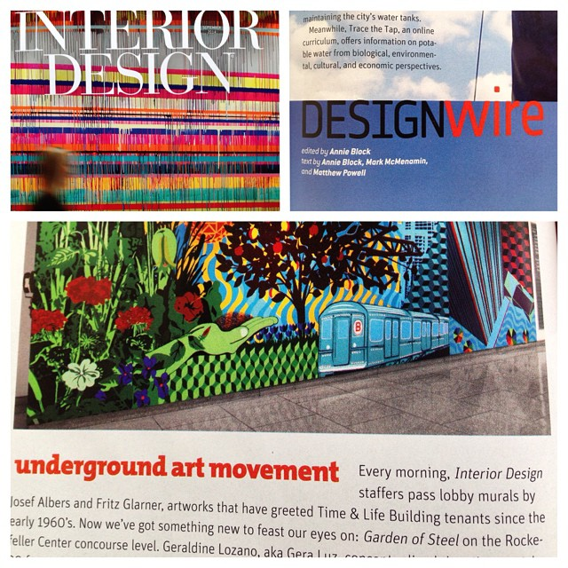 Just received a #copy of #interiordesignmagazine sept #issue #gardenofsteel is featured (pg.70) in #designwire by @blockannie #thankyou for the ❤️