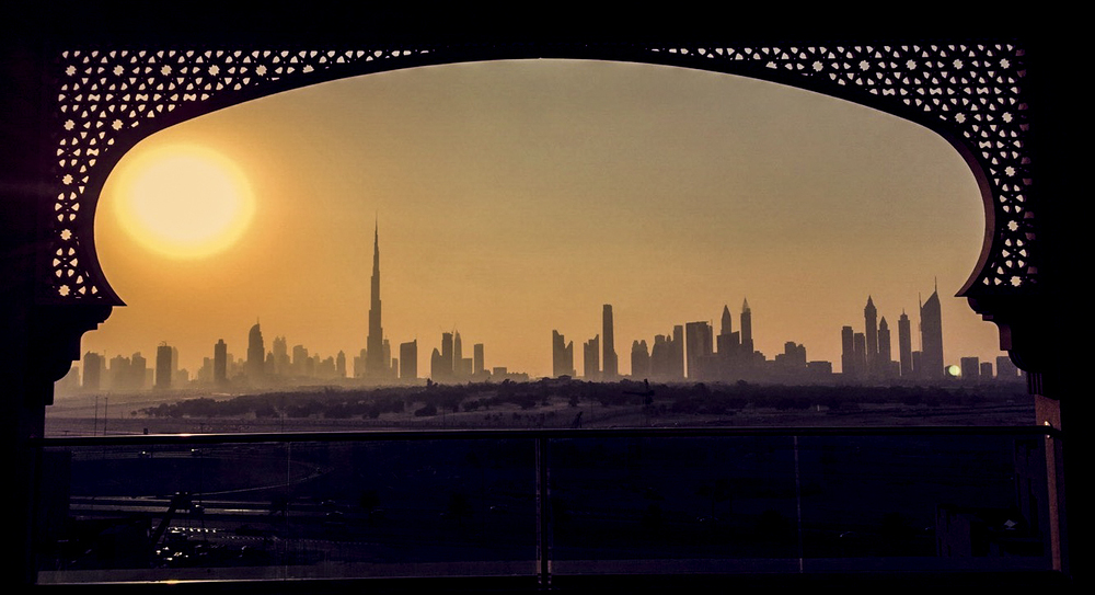 View of the Dubai Skyline from the top of our hotel . Photo by our Sound engineer Bryan Williams