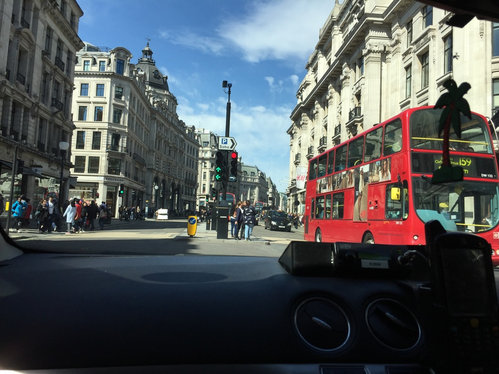Oxford Circus as seen through a car window