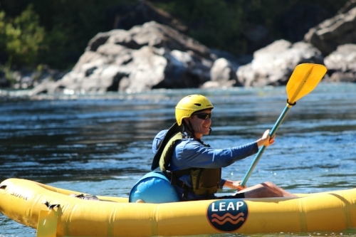 Co-founder Matt paddling through calm water on a 2016 LEAP program