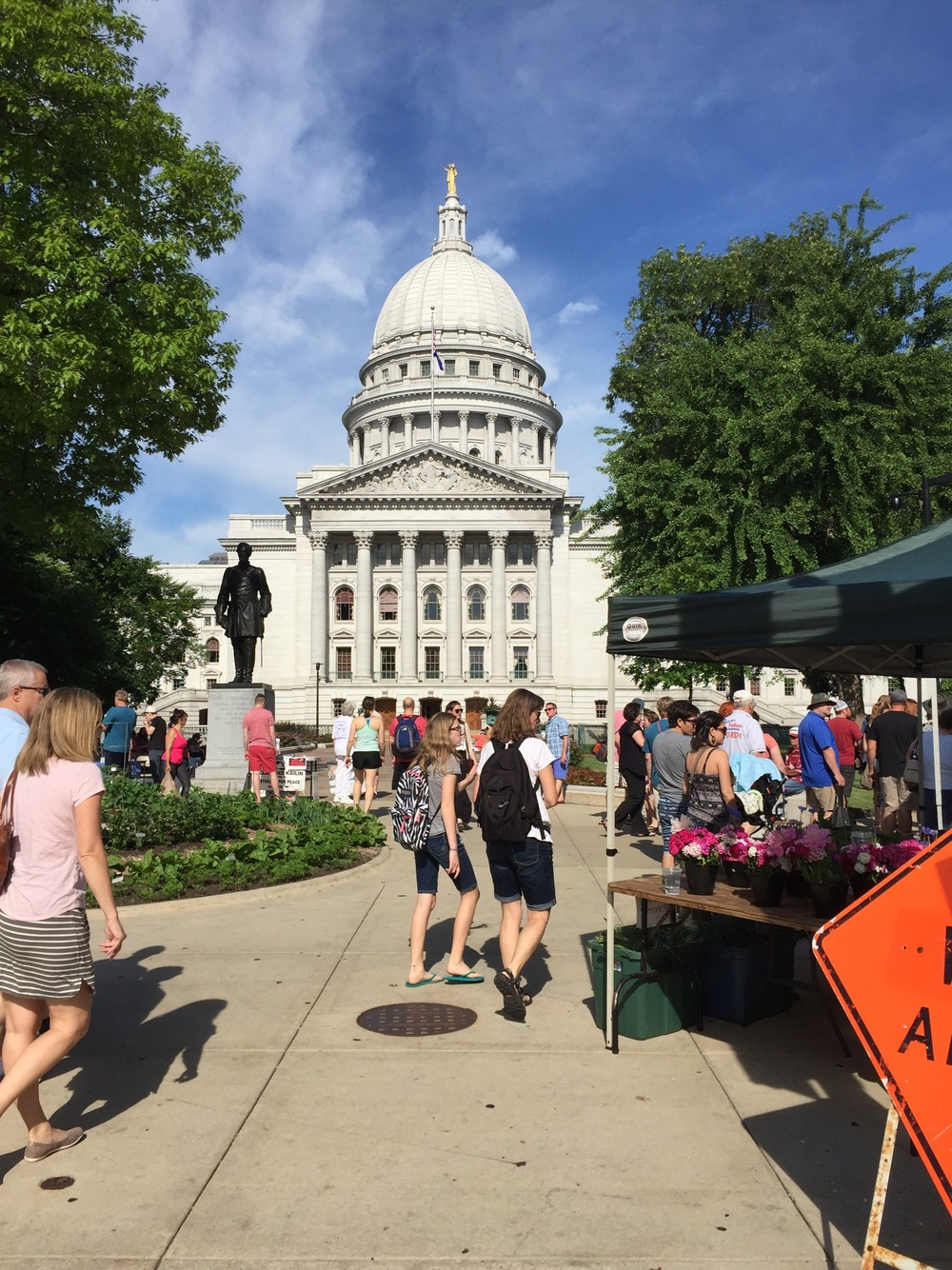 "Madison Farmer's Market! If the perimeter get's too crowded just head into the center for a ""personal space"" break."