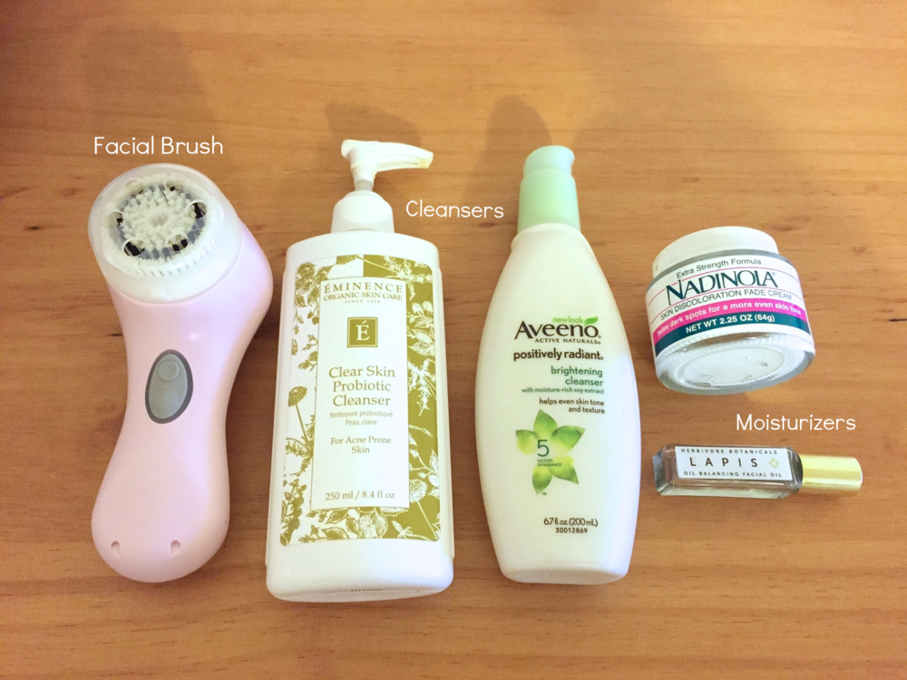 Facial brush, cleansers, and moisturizers used for a facial cleansing regimen