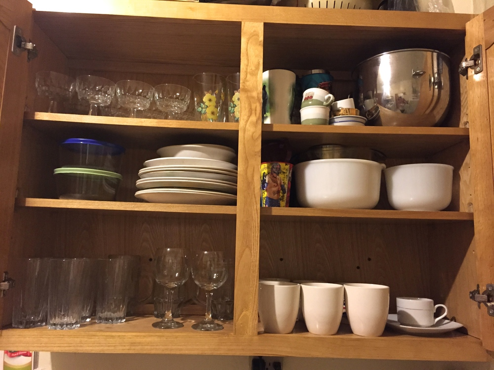 You can organize your glassware and cups in a similar manner
