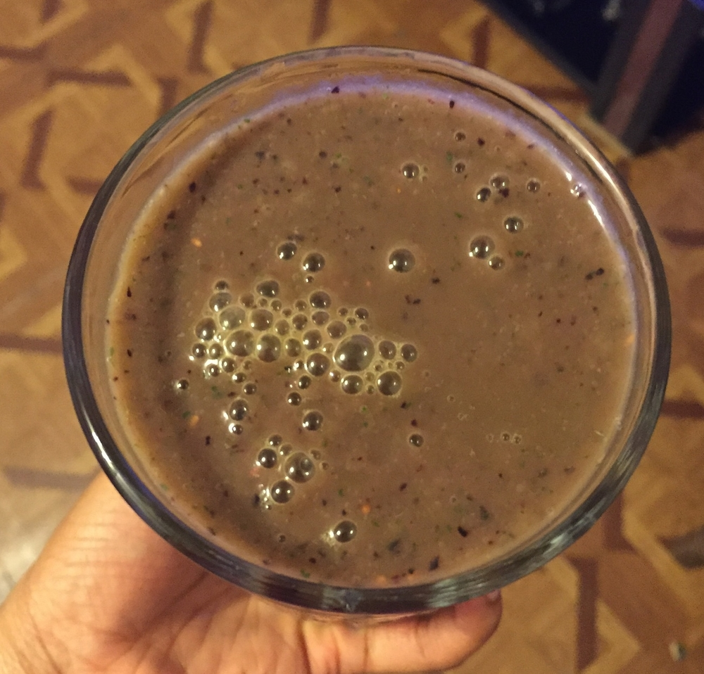 Combine ingredients in a blender and serve right away for a delicious berry mango smoothie