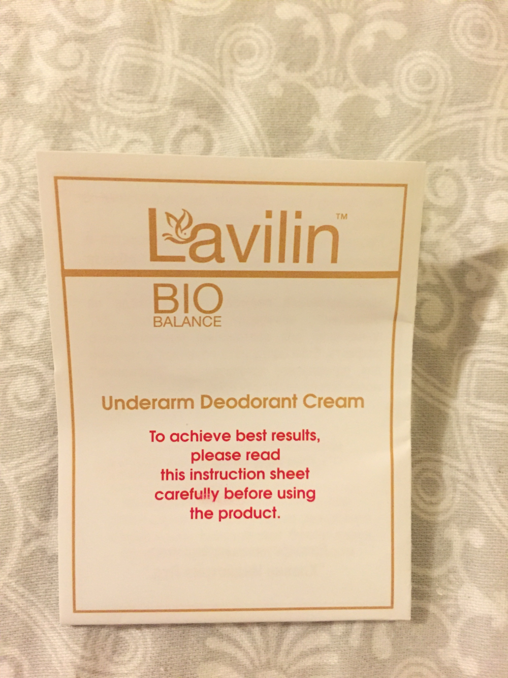 Instructions for using Lavilin underarm cream