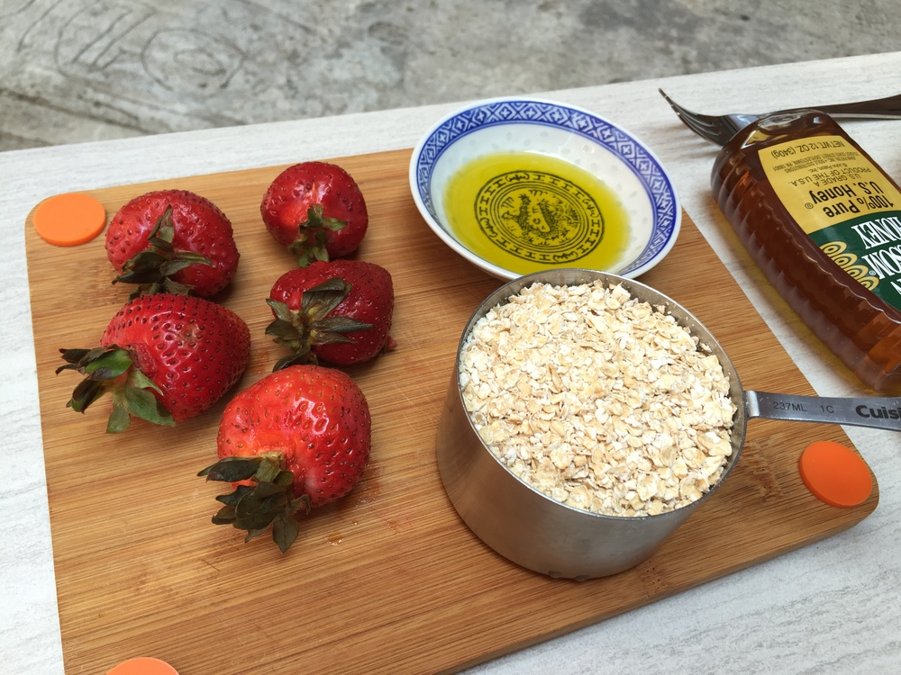 Oats, strawberries, olive oil, and honey