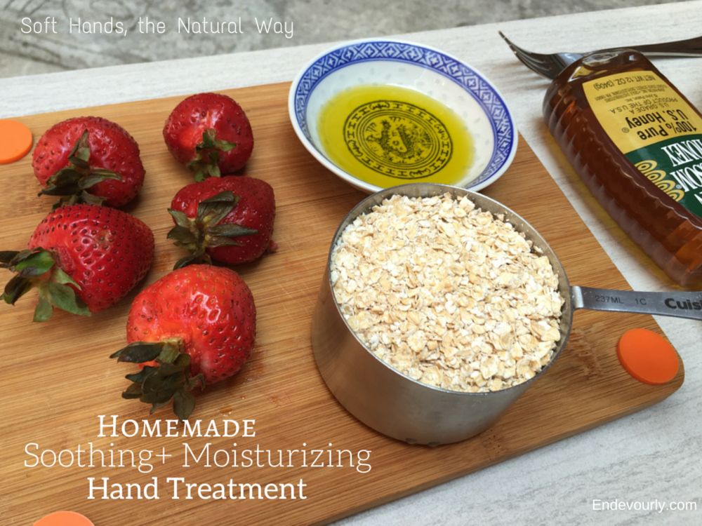 The ingredients for a homemade soothing + moisturizing hand treatment.