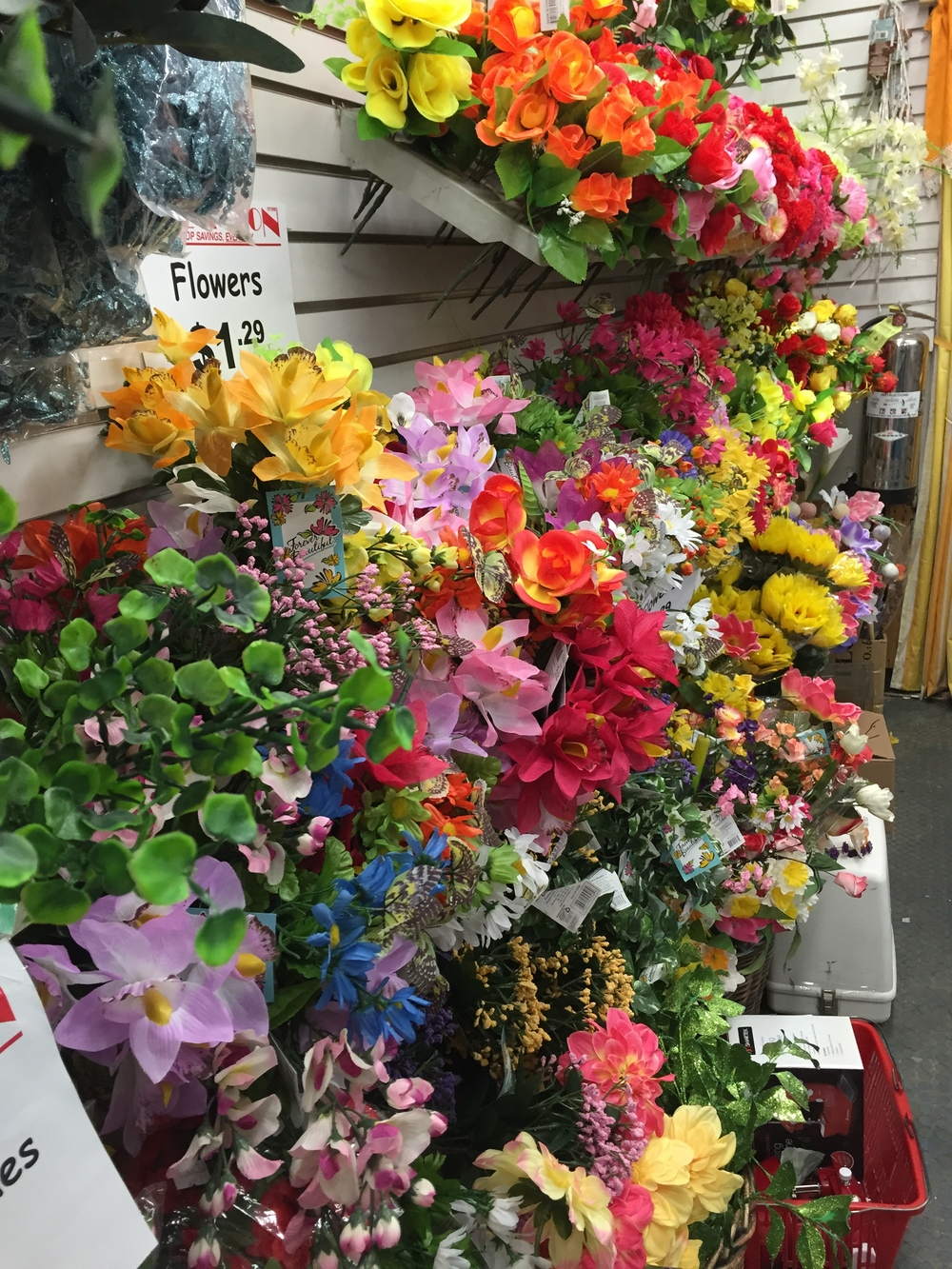 Those are all fake flowers, and they look so real.  All found at my local arts and crafts store.