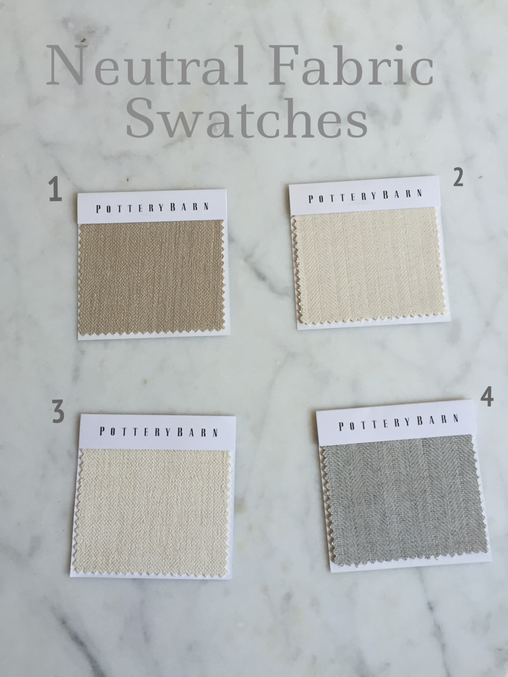 1.  Sunbrella Performance Sahara Weave in Oatmeal (a lot lighter than shown in the picture) 2.  Sunbrella Performance Boss Tweed in Ecru 3.  Sunbrella Performance Sahara Weave in Ivory 4.  Sunbrella Performance Boss Tweed in Pebble