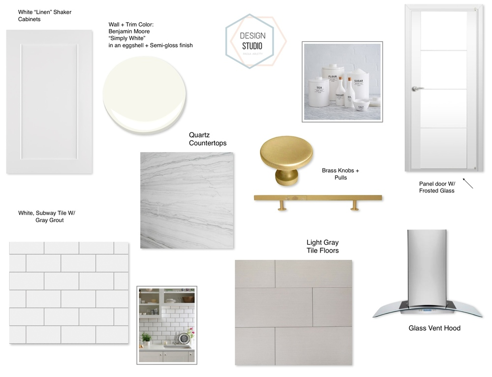 Cabinet Pulls + Knobs Roundup With a Design Board for a White Kitchen using Brass Hardware