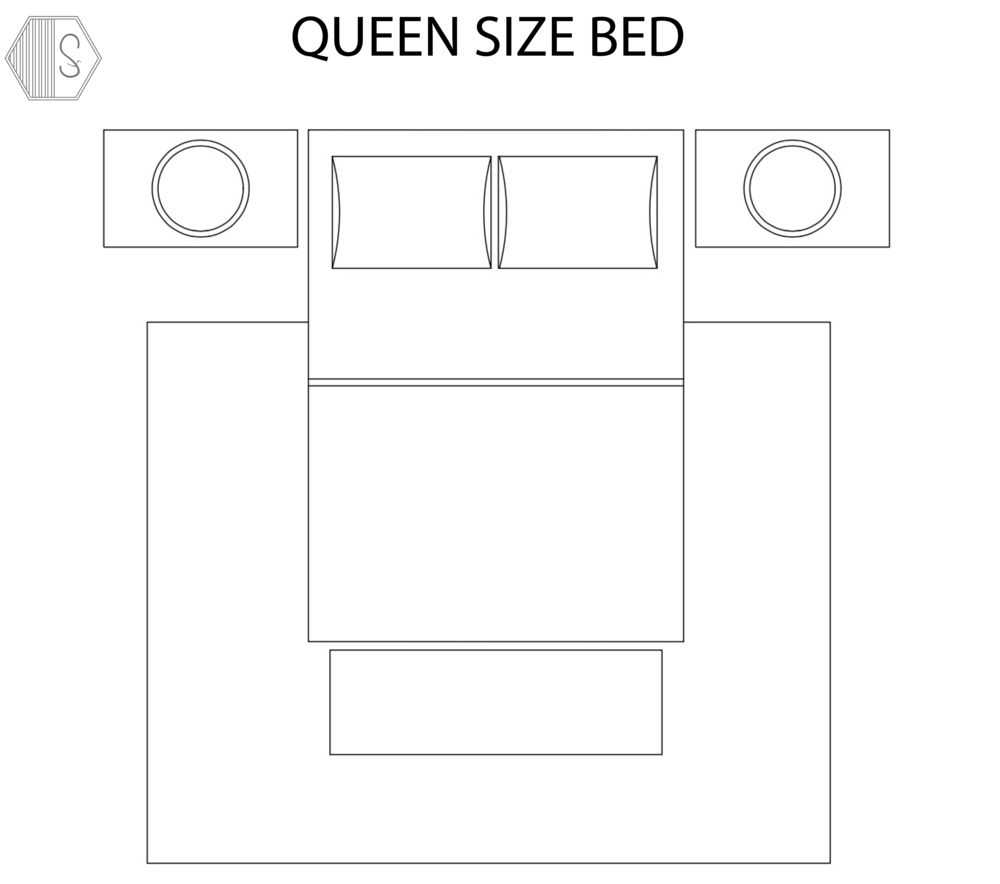 QUEEN BED - Typical Rug Size:  8' x 10'