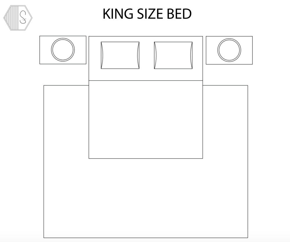 KING BED - Typical Rug Size:  9' x 12