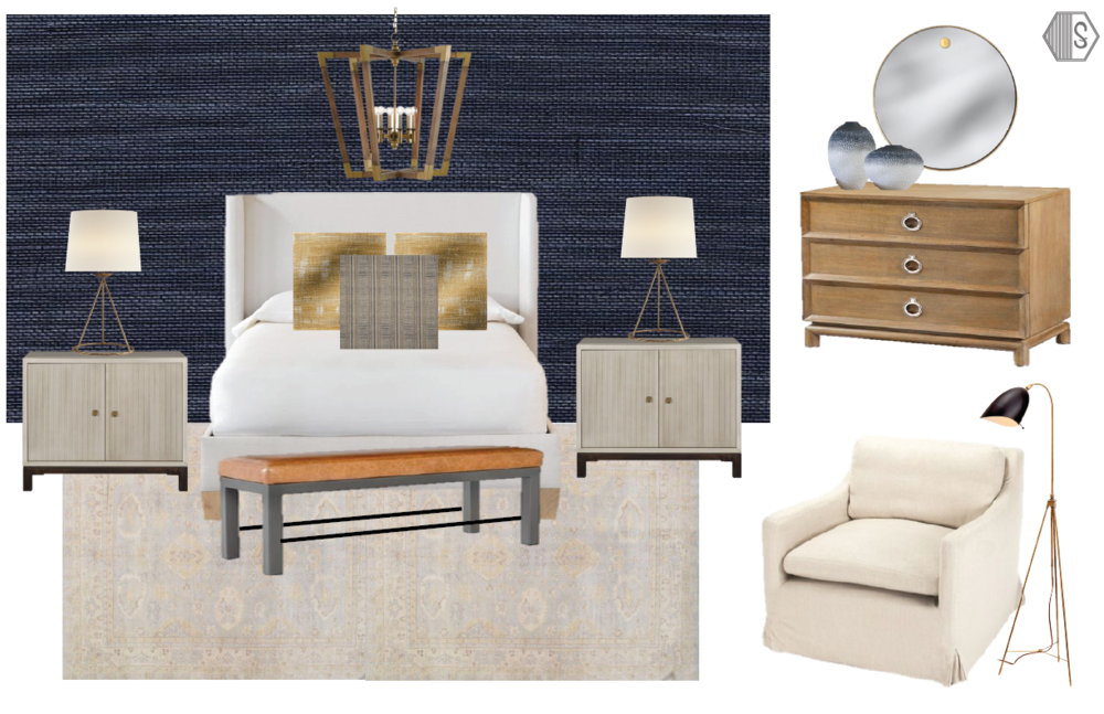 Sophisticated + Moody Bedroom - Moody and sophisticated bedroom design utilizing a gorgeous navy blue grasscloth wallpaper behind the bed, only. A cream upholstered bed contrasts beautifully with the dark walls and we paired these tones with a cognac leather bench at the foot of the bed and a wooden dresser that plays harmoniously with the warmer tones in the space. We love the muted color scheme of the rug because it pairs so well with the navy grasscloth and the chic nightstands. To contrast the dark walls, we used brass lamps and a cream accent reading chair.