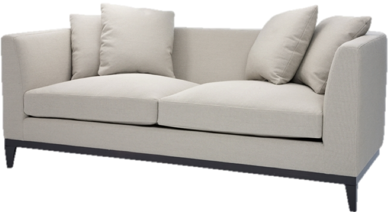 This curved sofa is an ideal piece for a bedroom, living room or office where space is limited, but you wish to introduce some comfy, substantial seating.  The curved back is a lovely departure from rigid, structured lines.  Not only is it comfortable, its sophisticated silhouette will fit beautifully in a formal or even casual space.