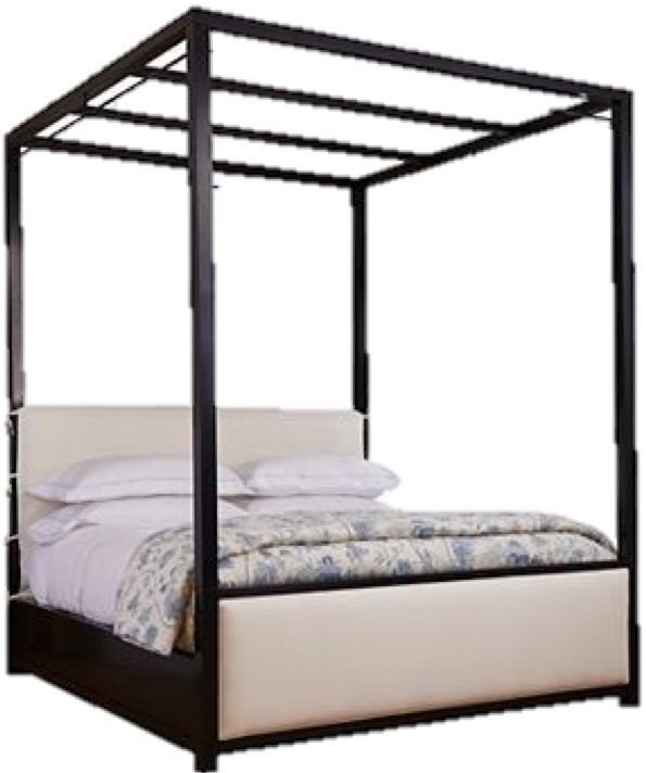 These days we are very much into four poster beds.  This one is ridiculously perfect because not only does it feature a very cool silhouette, it is upholstered both at the headboard and footboard.  This will surely soften the look of any space.