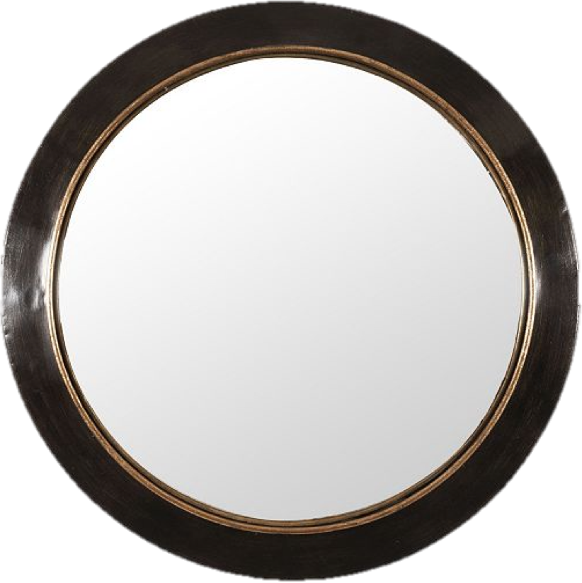 Convex mirrors have got to be one of our very favorite accessory pieces because they offer such great dimension to any space.  This circular one has a very modern black frame with brass detailing that will help in grounding any space with some punches of black.