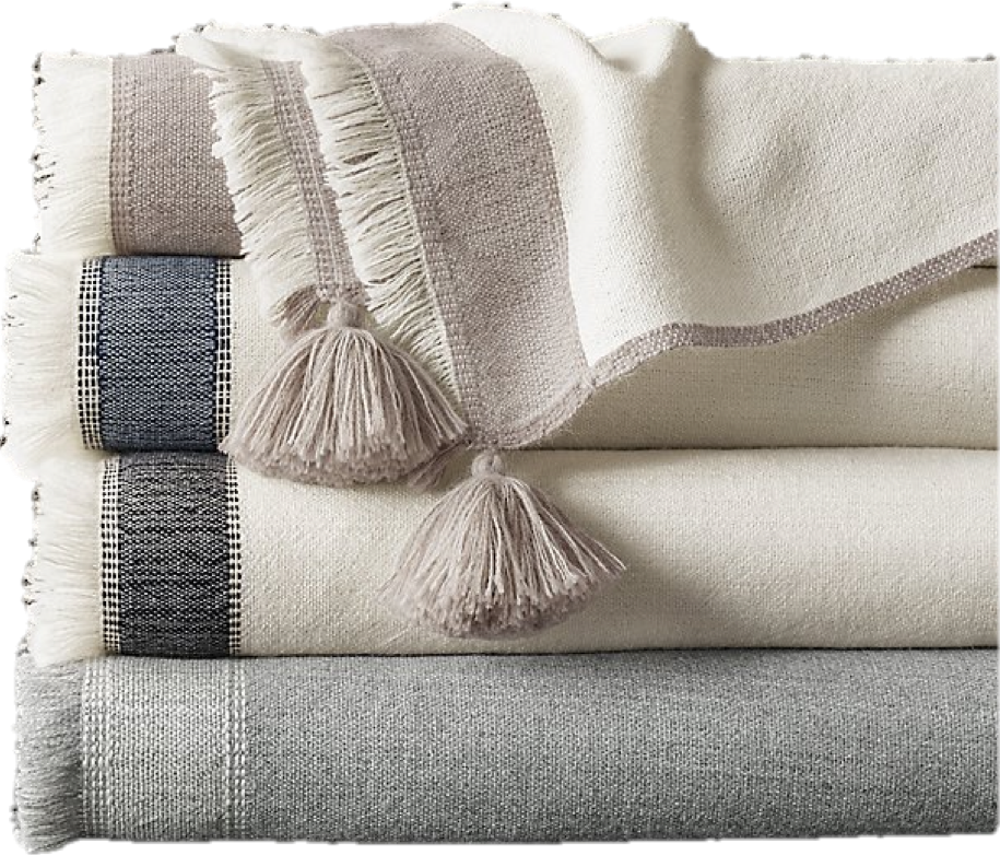 Our interiors our usually very sophisticated and formal.  This is why we love introducing cool and whimsical touches to any space like these fun pom-pom throws.  Oversized, soft and cozy, these throws are one of our favorites for children's bedrooms or principal bedrooms.