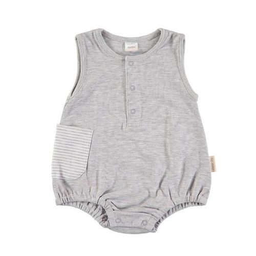 Sleeveless Baby Romper - Gray Stripes