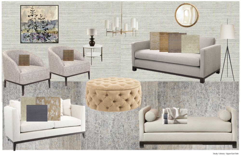 Luxuriously Golden Study - We've been loving golden shades of all tonalities paired with dusty blue-gray / taupe, so we thought it a great combination and fit for this sincerely luxuriously comfortable study. All the featured seatings are upholstered in hard-wearing fabrics such as high performance soft wheat colored velvet in the ottoman and linen on the sofas and chairs. We further enhanced the sophisticated approach with a gorgeous textured grasscloth in a soft gray color, though what elevates this particular design are the subtle touches of blue/purple amid all the creams and golden tones throughout. The low curved backs of the chairs are ideal for intimate gathering, while providing sightline to adjacent rooms.