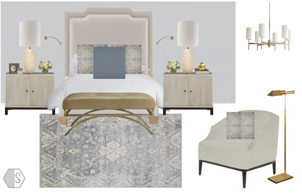 Soothing Master Bedroom - With a statement making high headboard, we started the scheme for this soothing master retreat. The geometric table lamps compliment beautifully with the straight lines of the nightstands, while the low, curved back accent chairs serves as both an art piece and practical furniture in the room. We love the dusty blue, gold and taupe color palette taken from the magnificent silk rug.