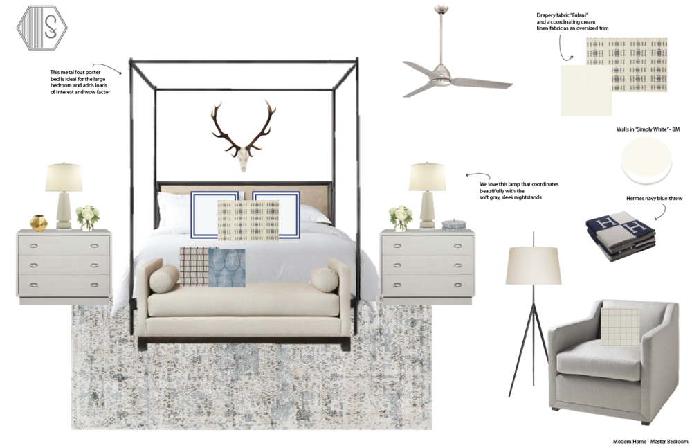 sophisticated bedroom | upholstered bed | master bedroom ideas | guest bedroom ideas | table lamps | DIY bedroom | master bedroom makeover | beautiful bedrooms | blue bedroom | blue walls | brass lamps | Design By Synonymous | Synonymouss.com