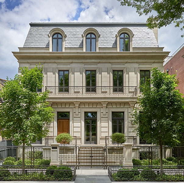 limestone facade| exterior ideas| chicago| townhouse| exterior paint color| exterior finishes| Modern farmhouse exterior| Outdoor ideas | black windows| wood door| brick house| Synonymouss.com | Synonymous Interior Design Studio NYC