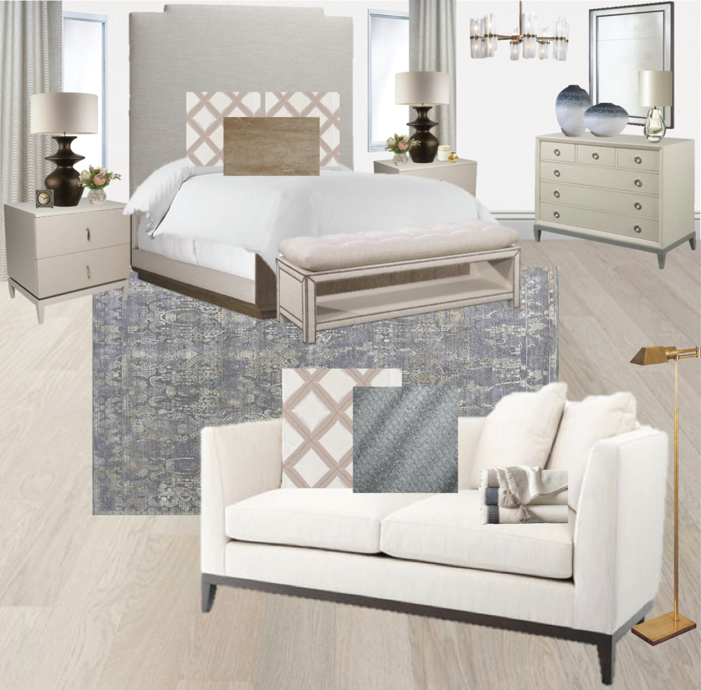 Master bedroom ideas| white walls | master bedroom | guest bedroom ideas | bronze table lamp | brass lamp | rock crystal chandelier | blue rug | purple rug | vintage rug | small sofa | pom pom throw | Synonymouss.com | Synonymous Interior Design Firm NYC