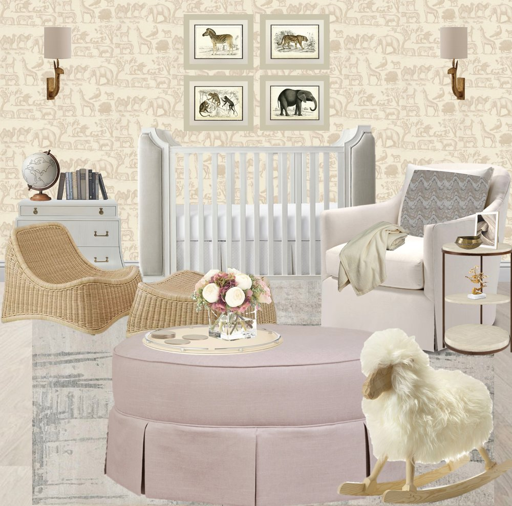 Baby Girl's nursery, baby girl, restoration hardware crib, white cribs, safari themed, animal wallpaper, rattan chair, pink ottoman, animal prints, nursery prints, brass sconces, globe, white rocking chair, upholstered cribs, dusty pink, luxury fabrics | Design By: Synonymous | Synonymouss.com