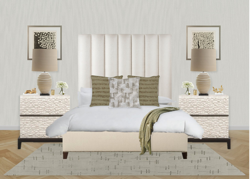 Olive Green and Textured Bedroom by Synonymous | Synonymouss.com