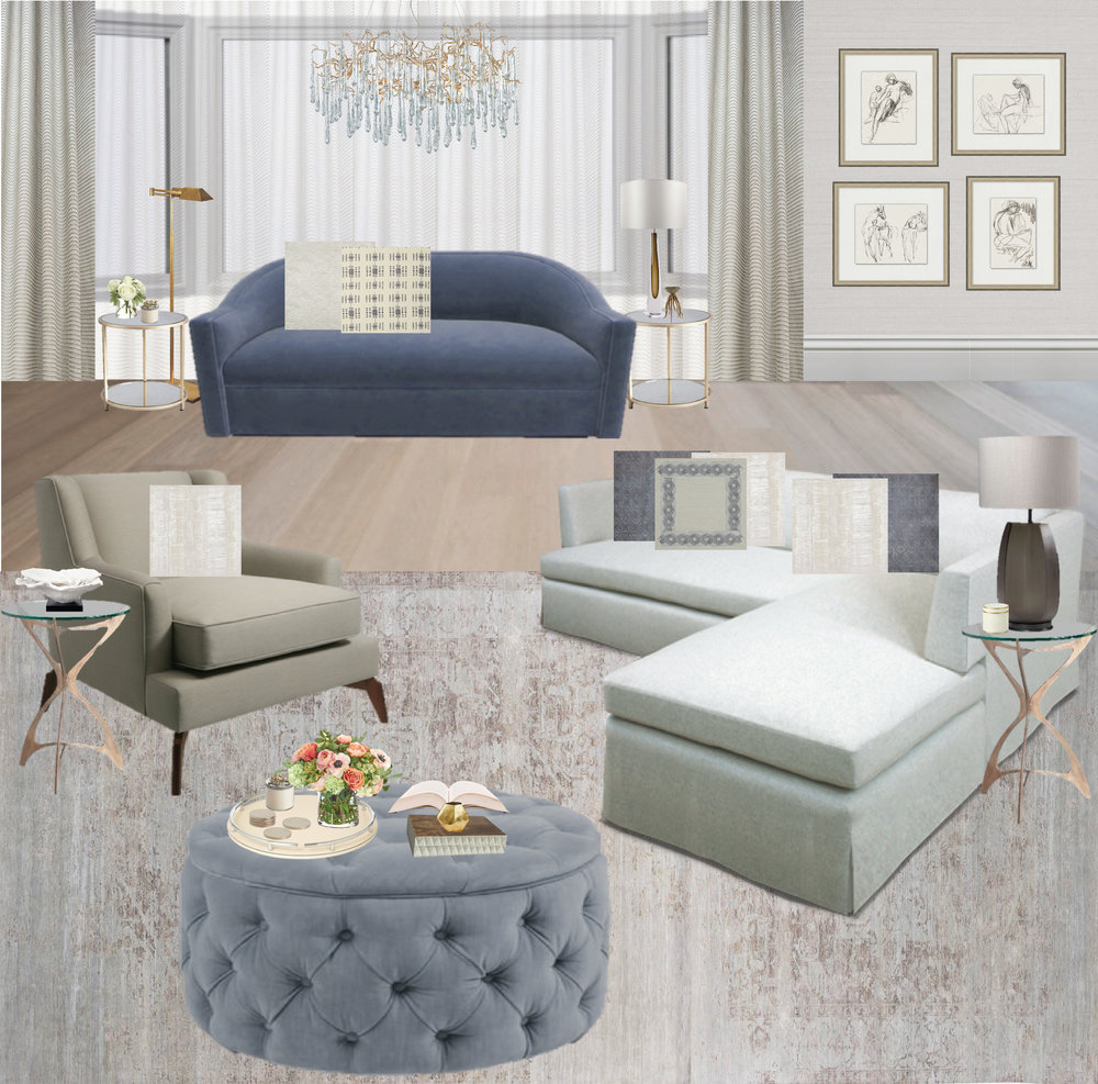 Blue sofa | tufted ottoman | white sofa | classic living room | family room ideas | table lamp roundup | glass table lamp | blue rug | vintage rug | brass table | brass lamp | brass floor lamp | sketch prints | prints | charcoal art | Design By: Synonymous — Synonymouss.com