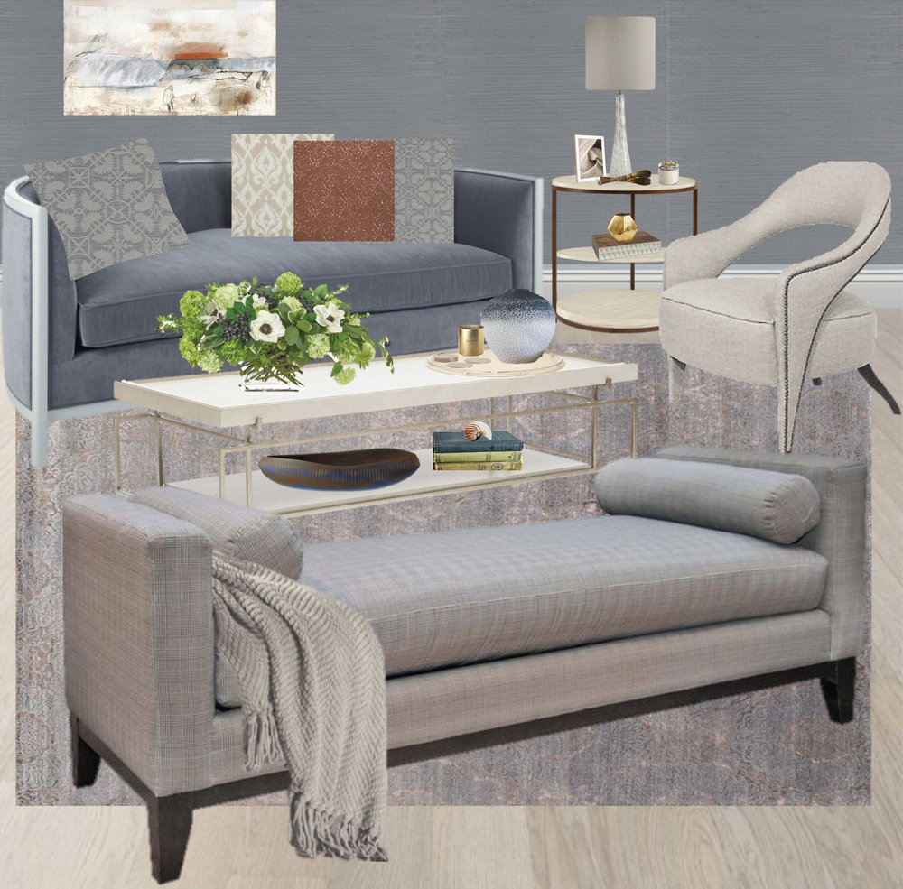 Monochromatic living room, color palette ideas, blue sofa, Blue Tonal Living Room by Synonymous — Synonymouss.com